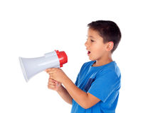 Child shouting through a megaphone Royalty Free Stock Photography