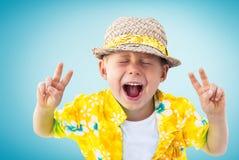 Child Shouts Hawaiian Shirt Straw Hatn Blue Royalty Free Stock Photos