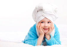 Child after the shower Stock Images