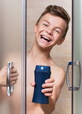 Child in shower Stock Photo