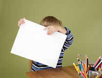 Child Showing Blank Page Stock Image