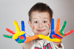Child showing his colored hands Stock Photography