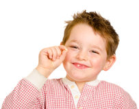 Child showing off his lost tooth Royalty Free Stock Photography