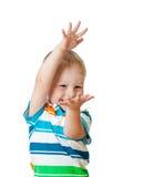 Child showing something isolated on white Royalty Free Stock Photos