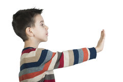 Child showing stop symbol Royalty Free Stock Image