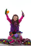 Child showing vegetables Royalty Free Stock Image