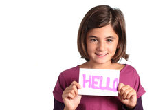 Child shows hello card royalty free stock photography