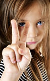 Child shows two fingers Royalty Free Stock Photography