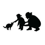 Child silhouette with mom and cat silhouette illustration in bla Royalty Free Stock Photography