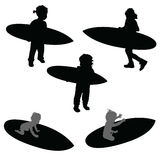 Child silhouette with surfboard in black illustration Royalty Free Stock Photo