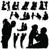 Child silhouette sweet with mom and dad illustration Royalty Free Stock Images