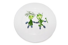 Child silhoutte from cucumber plate 4154 Stock Image