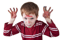 Child simulating threat, with both hands painted r. Child simulating threat, with both hands painted, isolated on white background Stock Photography