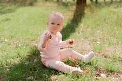 The child sits on the grass and holds two cones looking at the c. The baby sits on the grass and plays with two fir cones, she is dressed in a pink blouse stock image