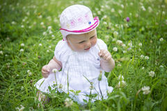 Child sits in grass and looks at the flowers Stock Image