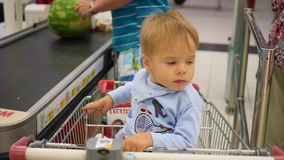 The child sits in the shopping cart in the store stock footage
