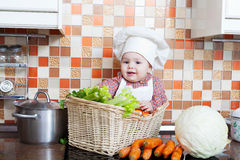 Child sits in a wattled basket Stock Photography