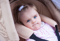 Child is sitting in a carriage. Royalty Free Stock Images