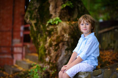 Child sitting under big tree Royalty Free Stock Image
