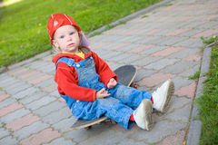 Child on the skateboard Royalty Free Stock Images
