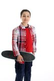Child with Skateboard White Background Stock Photography