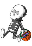 Child In Skeleton Costume with basket of candy Royalty Free Stock Photo