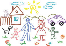 Child sketch in. Family Royalty Free Stock Photos