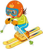 Child in ski. Vectors illustration shows a child skiing vector illustration