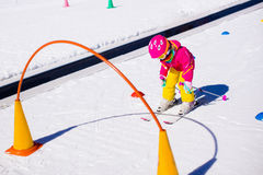 Child in ski school Stock Images