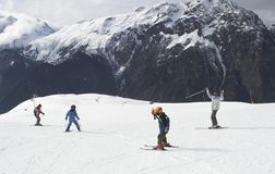 Child Ski Vacation In Alpes Royalty Free Stock Images
