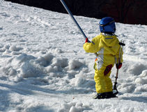 Child skier. Small child on ski-lift stock images