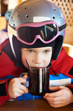 Child Skier Drinking Tea Royalty Free Stock Photo