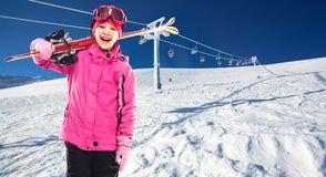 Child skier skiing in the mountains Royalty Free Stock Photography
