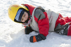 Child skier on snow royalty free stock images