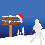 Child on skies winter illustration silhouette Stock Photography