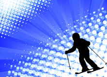Child skiing on the abstract background Stock Photos