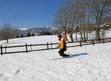 Child skiing with cross-country skis Stock Images