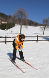 child skiing with cross-country skis Stock Photos
