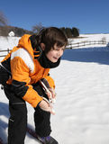 Child skiing with cross-country skis Royalty Free Stock Photo