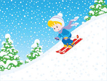 Child skiing down Stock Photos