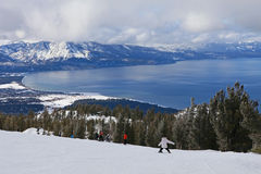 Child skiing downhill in Lake Tahoe Stock Photography