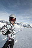 Child skiing, french Alps Stock Photo