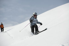 Child skiing, french Alps Stock Photography
