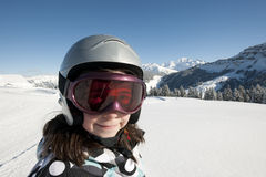 Child skiing, french Alps. Child skiing in mountains, french Alps, France Royalty Free Stock Photography