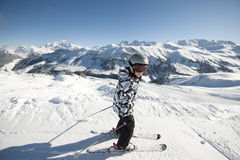 Child skiing, french Alps Royalty Free Stock Photo