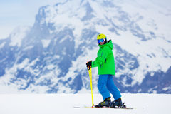 Child skiing in the mountains Royalty Free Stock Photo