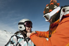 Child skiing and safety helmet