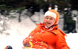 Child on sled. Portrait of the boy.Winter boy royalty free stock photography