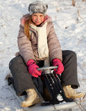 Child on sled Stock Photo