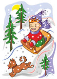 Child on a sled Royalty Free Stock Images